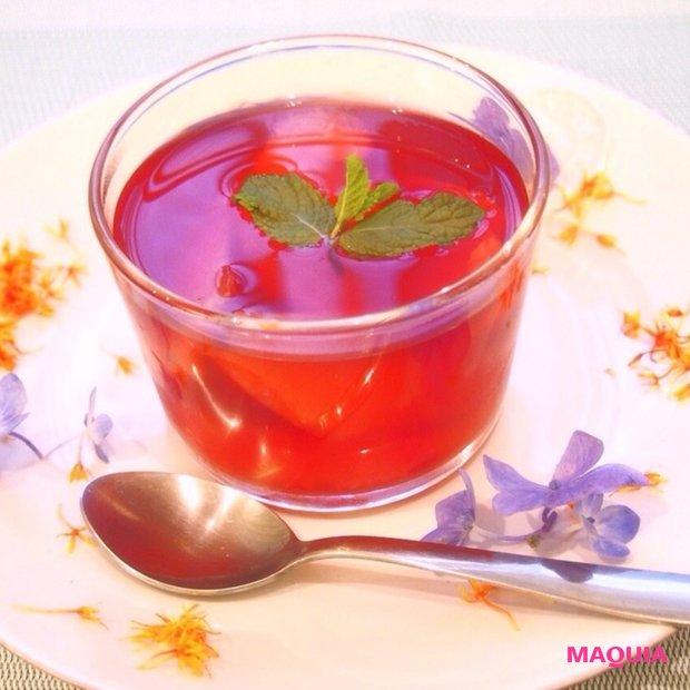 夏の美肌デザート! 「ハイビスカスティーとグレープフルーツのビタミンゼリー」☆