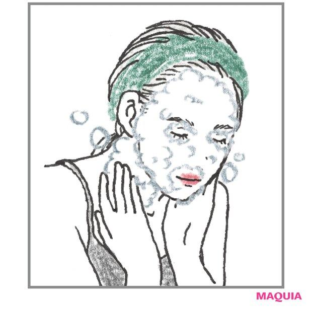 顔からの流れで 丁寧になで洗い