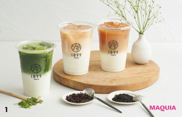 1右から和紅茶やほうじ茶、抹茶で作るラテ¥500〜。2シングルオリジンからブレンドまで、茶葉も豊かに揃う。