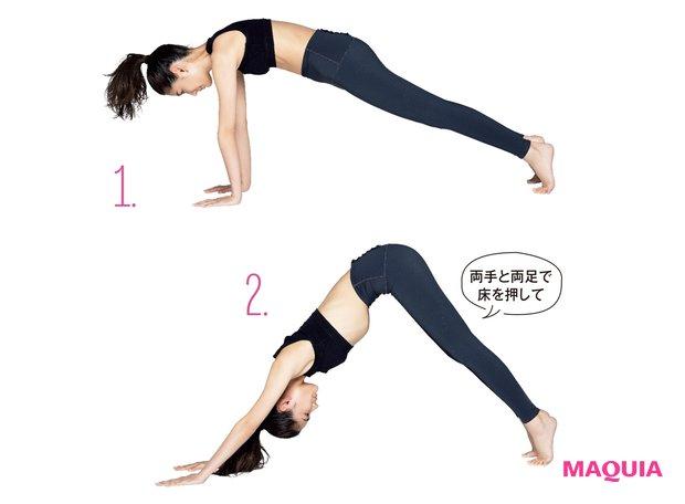 1.四つん這いになりひざを上げる/2.お尻を上げて脇を伸ばす