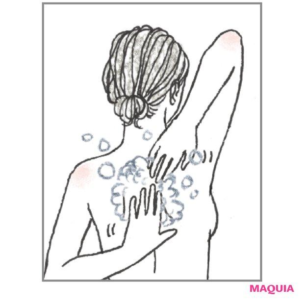タオルは使わず 背中も手で洗う