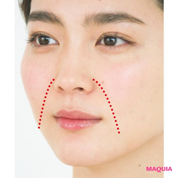 小鼻横〜口の上側にかけてのラインが気になる人は「上ゾーン」ケアを。口の横〜下のラインが気になるなら「下ゾーン」をケア