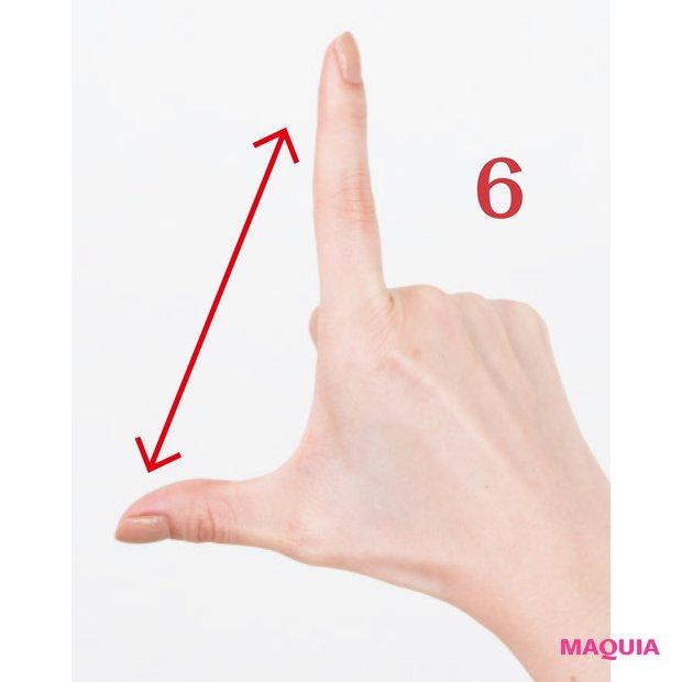 親指と人差し指の間を直角にした状態で指の腹を使ってしっかりと伸ばす