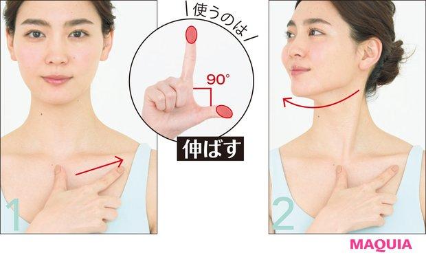 右手の親指と人差し指を鎖骨下中央の左側に置き、鎖骨の下を沿うように人差し指を伸ばしていく