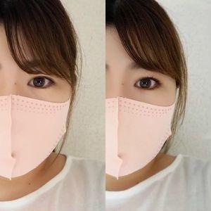 KATEの小顔シルエットマスク_左:アイシャドウなしマスクあり、右:アイシャドウありマスクあり