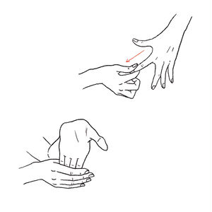 指の付け根から指先まで、1本ずつ流すと効果的。/手のひらを上にし、指を反らせるストレッチを。